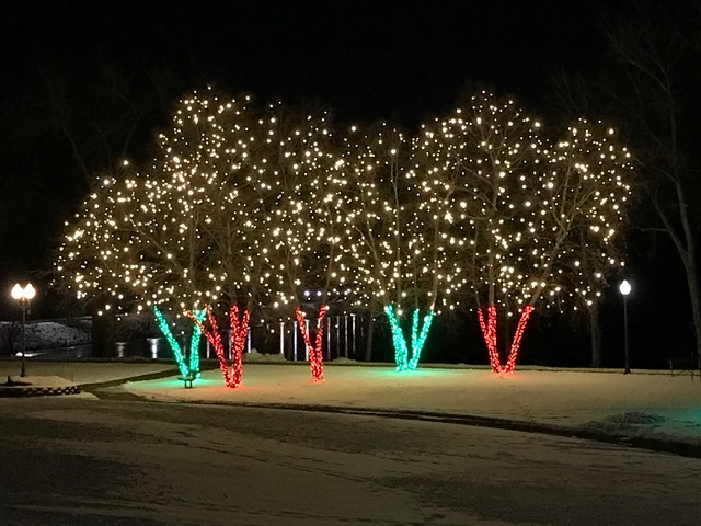Lakefront Park with Holiday Lights